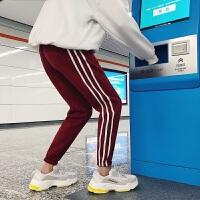 新品2018冬季新款男士加绒加厚条纹束口小脚裤韩版潮流学生运动休