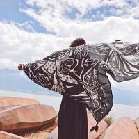 2018春夏季黑白印花围巾超大披肩两用女丝巾旅游防晒沙滩巾 黑色图腾