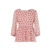 新款显瘦波点上衣短款收腰修身七分袖雪纺衫2018夏季品牌女装
