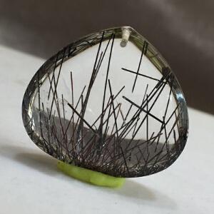 天然水晶项坠吊坠-高档黑发晶水滴吊坠【TQYS8A025】