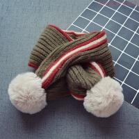 新款秋冬儿童毛线围巾1男童宝宝加厚保暖围脖韩版2女童毛球围巾 5个月-12岁