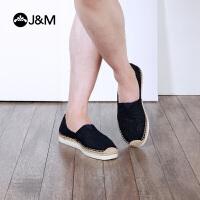 jm快乐玛丽2018夏季潮麻底透气镂空平底渔夫鞋帆布鞋男鞋子57286M