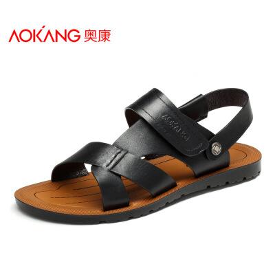 奥康男凉鞋夏季凉拖露趾男士休闲凉皮鞋沙滩鞋子魔术贴真皮凉鞋潮
