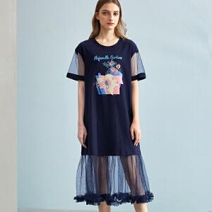 熙世界2018夏季新款棉质短袖欧美风拼接绣花圆领中长裙女112LL105
