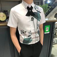 男士短袖衬衫男夜店刺绣衬衣男发型师衬衣