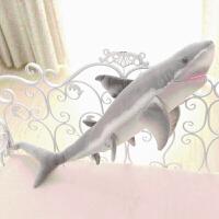 儿童毛绒玩具大号鲨鱼公仔 创意抱枕布娃娃 生日礼物 仿真鲨鱼