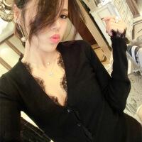 新款欧美范V领长袖黑色针织衫毛衣外套女修身显瘦蕾丝开衫打底衫 黑色