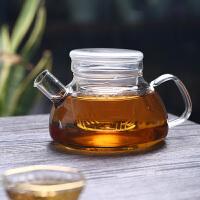 短嘴平盖欧式花茶壶手工耐热高鹏硅玻璃材质大容量三件式泡茶壶750ML玻璃杯花茶杯茶杯水杯