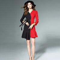 女装早秋新款时尚不对称黑红拼接系带收腰荷叶摆撞色连衣裙