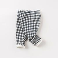 【加绒】davebella戴维贝拉女童宝宝秋冬新款格子休闲裤子DB8487