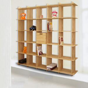 宜哉 松木书架 格子书柜 木质书架 置物架 靠墙装饰架 文艺范架子