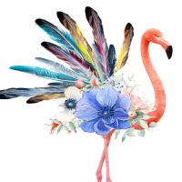 十字绣初学者线绣新款羽毛火烈鸟DIY客厅竖版