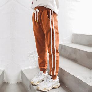 乌龟先森 儿童休闲裤 女童秋季新款棉质单色条纹系带长裤韩版时尚休闲舒适百搭中大童款套装