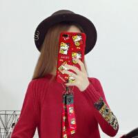 招财猫苹果6splus手机壳8pX硅胶挂绳皮纹潮女款iPhone7p新品软套6