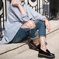 网红同款渔网袜性感黑色镂空网眼网格袜子女打底丝袜连裤袜潮 均码