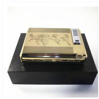 USB充电打火机烟盒20支装不锈钢金属自动弹开烟盒点烟器带锁