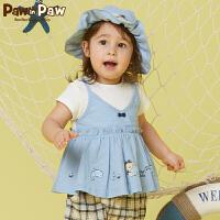 【1件5折 到手价:179】Pawinpaw卡通小熊童装夏款婴童女宝宝圆领短袖假两件T恤可爱