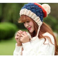 韩版时尚大毛球针织毛线帽子秋冬可爱女士护耳帽
