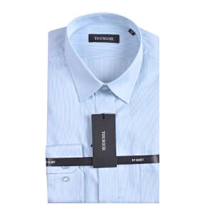 youngor/雅戈尔 秋装新款雅戈尔蓝色条纹长袖衬衫男装DP纯棉免烫DP10021QQQ