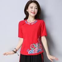 夏装新款民族风女上衣棉麻女装复古刺绣圆领中国风绣花T恤衫