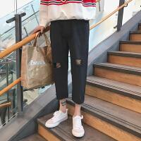 夏季港风日系水洗破洞牛仔七分裤男士韩版宽松休闲毛边直筒哈伦裤