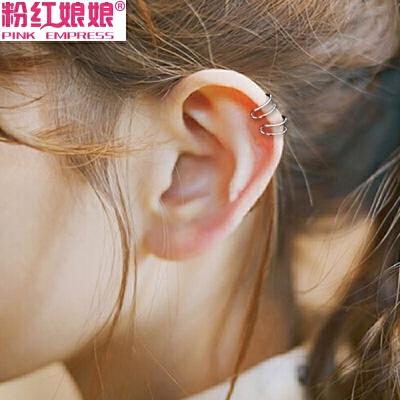 韩版饰品气质潮人双线素圈简约小耳夹百搭无耳洞耳钉女耳环耳骨夹