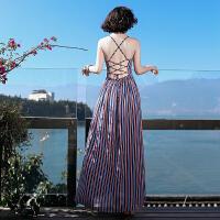 夏季新品条纹露背吊带雪纺长裙连衣裙波西米亚海边度假沙滩裙 图片色XZC545