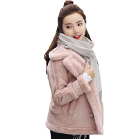 冬季时尚短款鹿皮绒仿羊羔毛外套女装学生宽松加绒加厚皮毛一体棉衣
