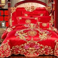 新婚庆床品四件套大红全棉刺绣结婚礼床上用品喜庆被套六八十件套 2.0m(6.6英尺)床 床单款