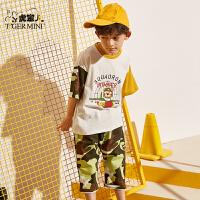 小虎宝儿男童短袖套装2020夏装新款儿童纯棉七分裤中大童洋气童装