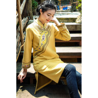 旗袍式上衣茶人服民族风唐装女士中式外套盘扣上衣长袖秋冬款 黄色