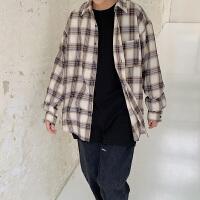 新款格子男长袖衬衫格子韩版潮流帅气青少年学生休闲衬衣男寸衣