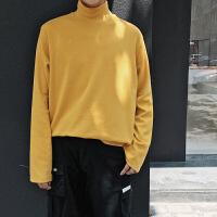 新款秋季韩版高领长袖针织打底衫纯色男士高领薄款毛衣学生卫衣潮