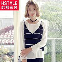 韩都衣舍2017韩版女装夏装新款宽松显瘦条纹两件套雪纺衫