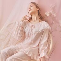 纯棉睡衣女秋季长袖公主甜美可爱复古宫廷睡衣家居服套装