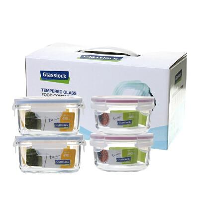Glasslock 三光云彩韩国玻璃保鲜盒玻璃饭盒GL22便当盒收纳盒饭菜盒四件套装收纳盒