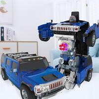 遥控一键变形玩具悍马救护汽车机器人男孩儿童