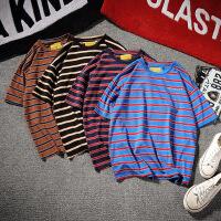 夏季日系条纹短袖T恤男女情侣打底衫青少年学生圆领半袖汗衫潮男