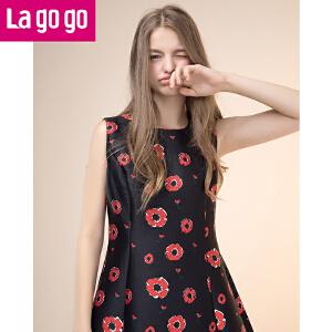 Lagogo2017春季新款女式无袖印花圆领高腰显瘦连衣裙百搭修身短裙