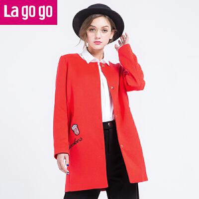 Lagogo拉谷谷上衣2017春季新款直筒印花中长款休闲百搭长袖外套