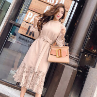 秋冬新款韩版名媛气质圆领长袖蕾丝拼接收腰显瘦中长款针织连衣裙 均码
