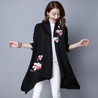 实拍女装秋冬新款风衣外套女士韩版中长款大翻领花朵刺绣开衫上衣