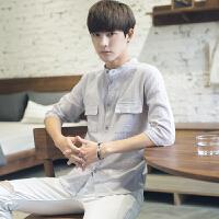 夏季七分短袖衬衫男士韩版潮流上衣服学生纯色中袖帅气修身衬衣男