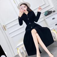 2018春秋新款韩版气质两穿加厚灯芯绒翻领单排扣收腰连衣裙