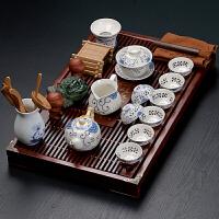 家用实木排水茶盘茶台整套陶瓷紫砂茶具白瓷茶道套装