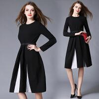 秋冬新款欧美女装黑色长袖修身显瘦拼接A字中长款大摆连衣裙