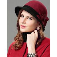 秋冬小檐帽礼帽 新款韩版时尚羊毛帽女 呢帽优雅时装帽