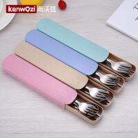 304不锈钢儿童餐具三件套学生韩版可爱简约筷子勺子套装便携创意