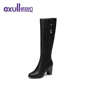 依思q冬季新款粗跟高跟长靴时尚潮流金属锁扣女靴子
