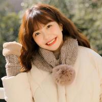 新款秋冬季毛线保暖学生女针织帽子围脖交叉两用韩版手套两件